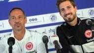 Der Trainer und sein Torhüter: Adi Hütter und Kevin Trapp stehen in Straßburg Rede und Antwort.