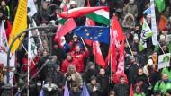 Demonstranten Anfang Januar in Budapest.