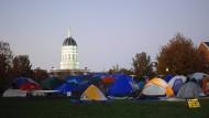 Zeltlager an der Universität Missouri im Zeichen des Anti-Diskrimierung-Kampfes