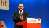 Martin Schulz während seiner Rede auf dem SPD-Parteitag am Donnerstag
