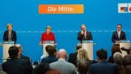 Julia Klöckner, Angela Merkel, Reiner Haseloff und Guido Wolf am Montag bei der Pressekonferenz der CDU zu den Landtagswahlen.