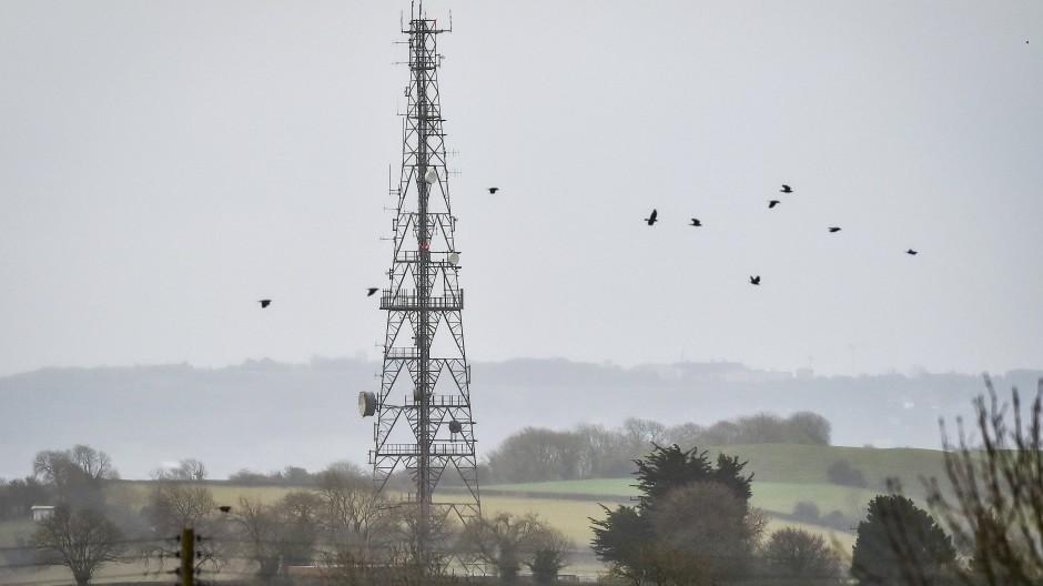 Telekommunikationsmast in der Nähe von Dundry in der britischen Grafschaft Somerset.