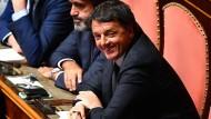 Matteo Renzi Mitte August im italienischen Senat in Rom