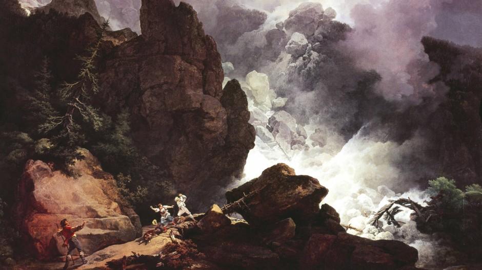 """Zweifellos ein Naturereignis: """"Lawine in den Alpen"""", Philip James de Loutherbourg (1740-1812)"""