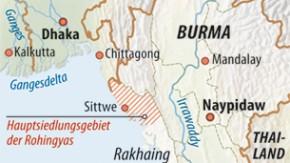 Karte / Burma / Hauptsiedlungsgebiet der Rohingyas