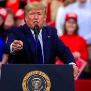 Donald Trump am Dienstagabend auf einer Wahlkampfveranstaltung in Wisconsin.