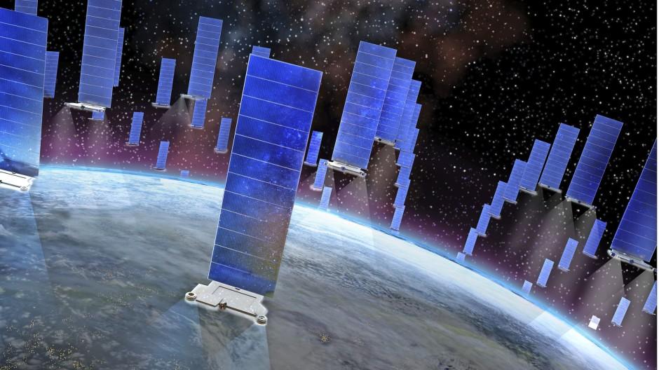 """Die Satelliten der """"Starlink-Konstellation"""" des amerikanischen Weltraumunternehmens SpaceX könnten schon bald die Raumfahrt im niederen Erdorbit gefährden."""