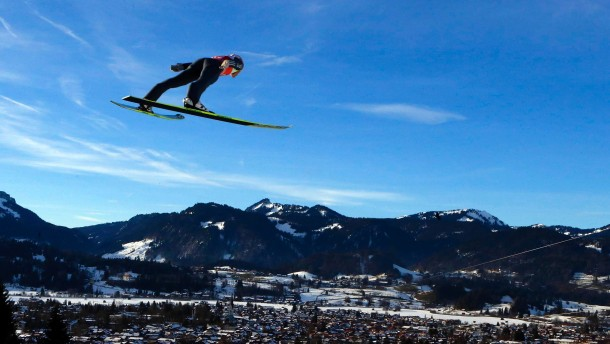 Germany's Freund soars through the air during the practice for the first jumping of the 61st four-hills ski jumping tournament in Oberstdorf