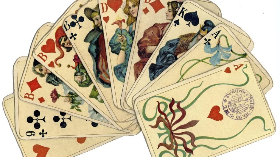 Reicht das für einen Grand? Kartenhand mit Altenburger Spielkarten von 1924