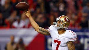 San Francisco 49ers quarterback Colin Kaepernick throws against the Atlanta Falcons during the second quarter in the NFL NFC Championship football game in Atlanta