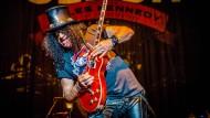 Slash, früherer Gitarrist von Guns N'Roses, 2014 bei einem Auftritt in den Niederlanden