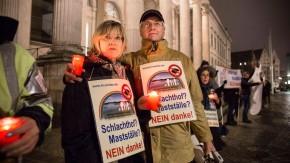 Menschenkette - Tierschützer, Bürger und Bauern demonstrieren mit einer Menschenkette um den Landtag in Hannover für eine neue, faire Argrarpolitik in Niedersachsen.