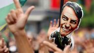 Fans von Jair Bolsonaro auf einer Demonstration in Sao Paulo im September