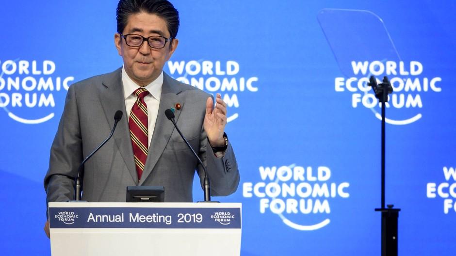 Shinzo Abe am Mittwoch in Davos