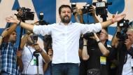 Salvini lässt sich am Sonntag von seinen Anhängern in Pontida feiern.