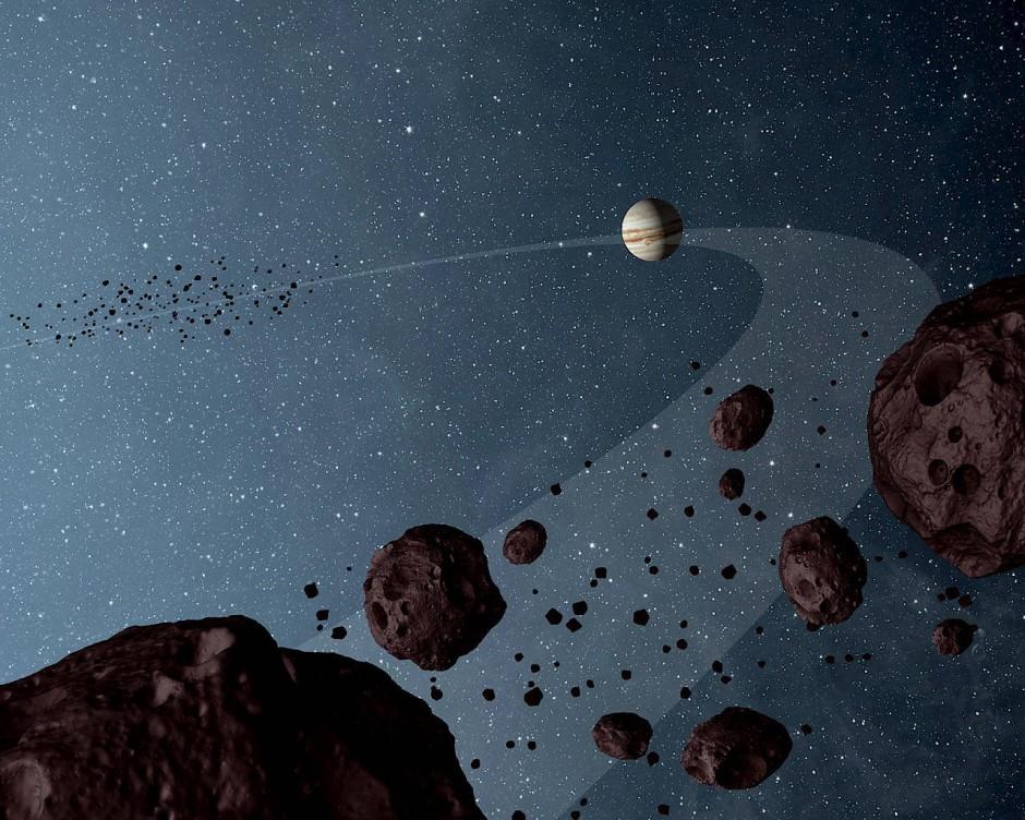 Künstlerische Darstellung der Asteroiden, die auf der Umlaufbahn des Jupiters in derselben Richtung kreisen