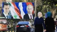 Wie nah sich Assad und Putin sind, zeigt auch dieses Plakat in Aleppo.