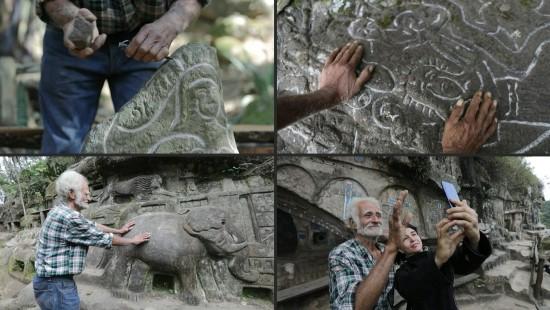 Mann verwandelt Berg in Kunstwerk