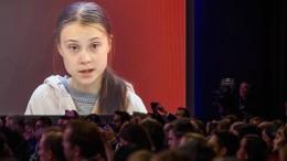 Greta Thunberg spricht in Davos