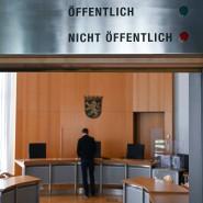 """""""Nicht öffentlich"""": Eingang zum Sitzungssaal 1 des Amtsgerichts Alsfeld"""
