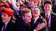 Damit hatten sie auch nicht gerechnet: Jubel auf Trumps Wahlparty in New York in der Nacht des 8. November 2016.