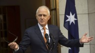 Malcolm Turnbull gibt im August 2018 seine letzte Pressekonferenz als Regierungschef in Canberra.