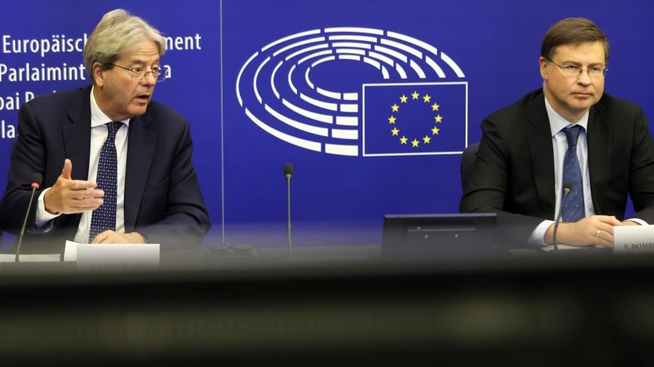 Paolo Gentiloni (links) und Valdis Dombrovskis