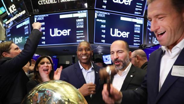 Uber kämpft auch am zweiten Börsentag
