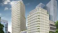 Ein großer und zwei kleine Türme: An der Stiftstraße soll das neue Hochhaus-Ensemble entstehen.