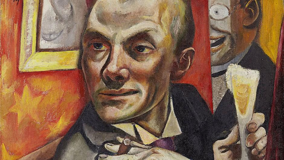 """Epochenbild: Max Beckmanns """"Selbstbildnis mit Sektglas"""" aus dem Jahr 1919."""