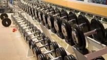 Schweißtreibende Standards: Aufgereihte Kurzhanteln im Fitness-Studio