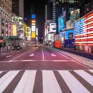 Der Times Square in New York, normalerweise einer der belebtesten Orte der Stadt, ist beinahe menschenleer.