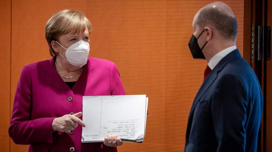Kanzlerin Angela Merkel und Olaf Scholz am Mittwoch im Kanzleramt