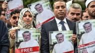 Proteste zur Unterstützung des Journalisten Jamal Khashoggi vor dem saudi-arabaischen Konsulat in Istanbul