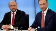 """Schulz und Lindner In der """"Elefantenrunde"""" am Wahlabend"""