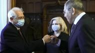Der Außenbeauftragte der EU, Josep Borrell, und der russische Außenminister Sergej Lawrow am Freitag in Moskau
