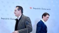 Werden Sie vielleicht bald getrennte Wege gehen? Der österreichische Bundeskanzler Sebastian Kurz (rechts) und Vizekanzler und FPÖ-Chef Heinz-Christian Strache