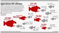Gegen die flüssigen Kapitalmittel von Apple und Co wirken die Marktwerte der Dax-Unternehmen wie kleine Fische