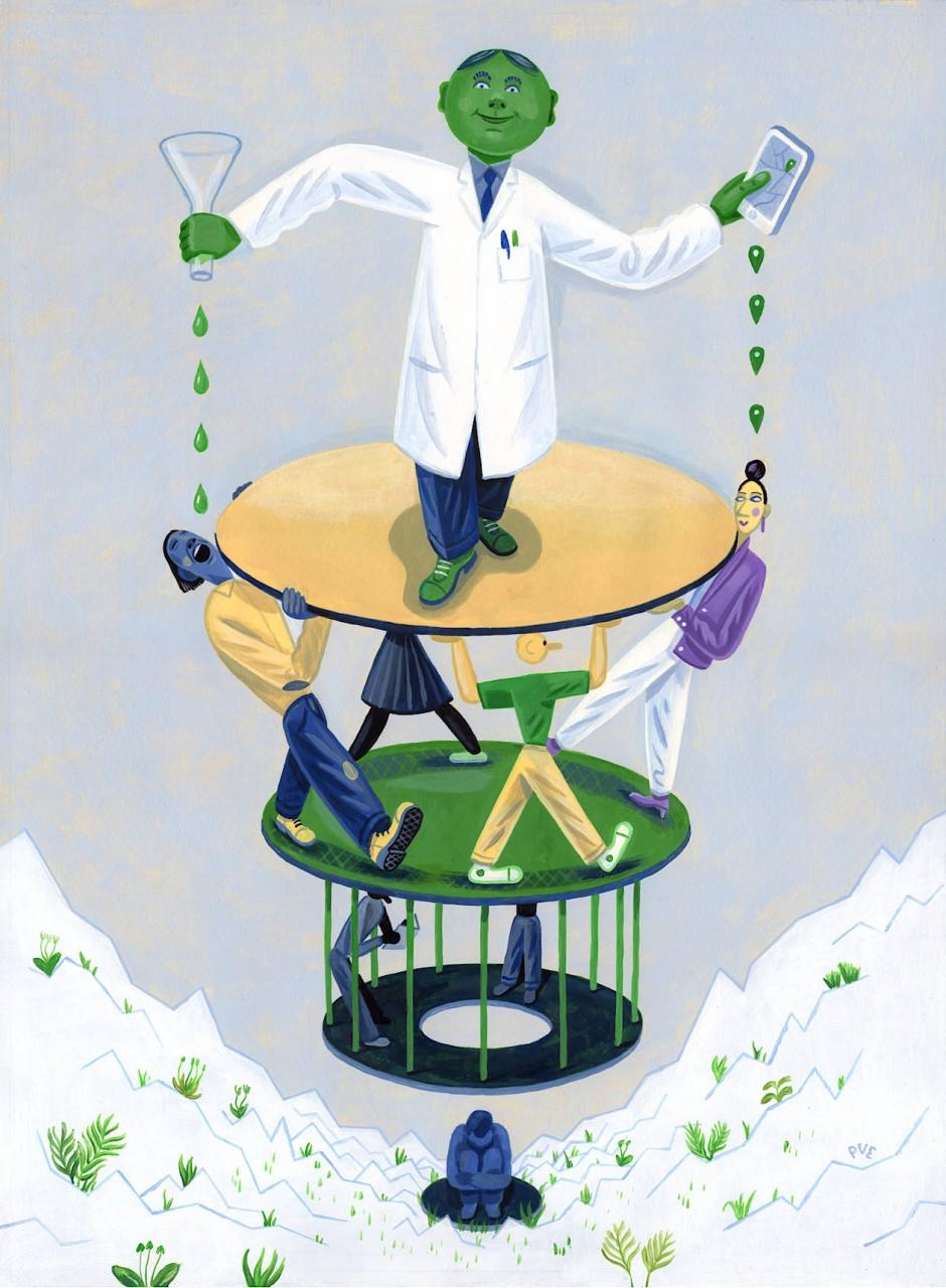 Die Epidemie, wie sie der Illustrator sieht: Der Wissenschaftler empfängt die Daten aus der Bevölkerung und entwickelt auf der Basis die Medizin gegen das Virus – während sich die Menschen teilweise wie eingesperrt vorkommen oder einsam und hilflos fühlen im tiefen Tal der Statistikkurven.