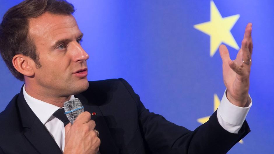 Frankreichs Präsident Emmanuel Macron am Dienstag an der Johann-Wolfgang-Goethe-Universität Frankfurt
