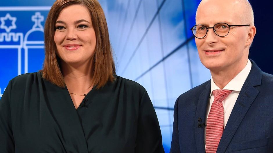 Hamburgs Bürgermeister Peter Tschentscher (SPD) stand der Zweiten Bürgermeisterin Katharina Fegebank (Grüne) im TV-Duell gegenüber.