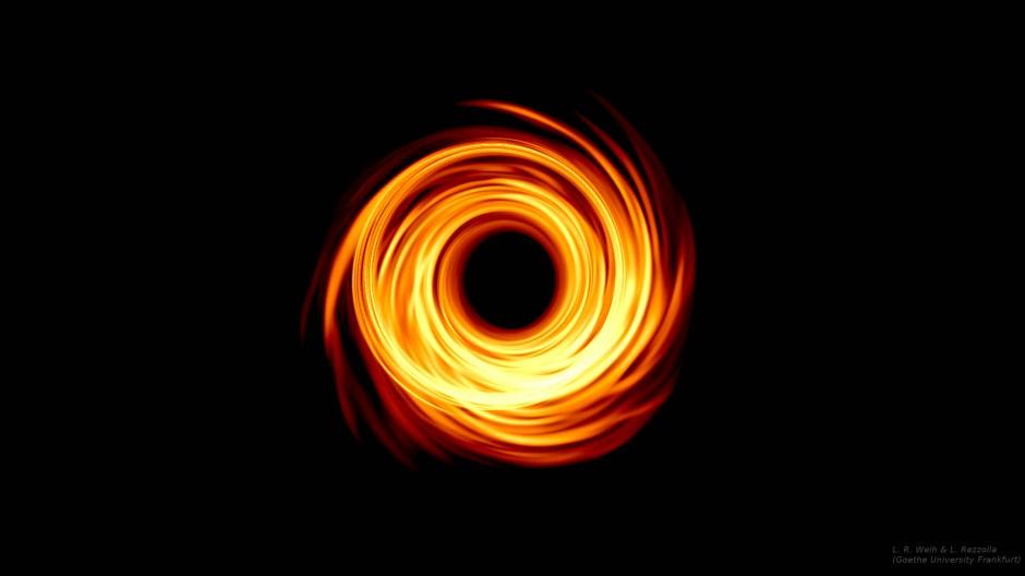 2019 wurde erstmalig der Schatten eines Schwarzen Lochs vom Event Horizon Telescope (EHT) beobachtet, hier eine Simulation dessen, was man dabei sah.