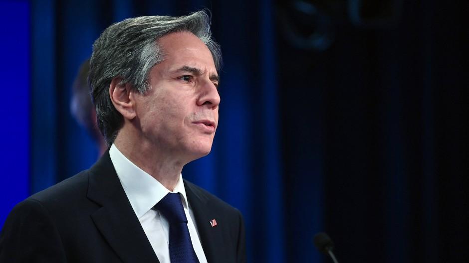 Außenminister Blinken am 30. März im State Department in Washington