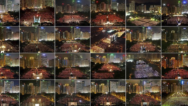 Kerzen für die Opfer des Tiananmen-Massakers