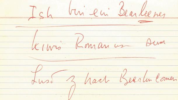 Die Karteikarte mit dem Satz: Ish bin ein Bearleener