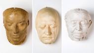 Friedrich Schiller (1759 bis 1805), Totenmaske; Johann Wolfgang von Goethe (1749 bis 1832), Lebendmaske; Ricarda Huch (1864 bis 1947), Totenmaske.
