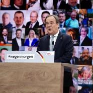 Der neue Parteivorsitzende Armin Laschet spricht nach seiner Wahl beim digitalen Bundesparteitag der CDU.