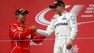 Sebastian Vettel landet knapp hinter Valtteri Bottas aus dem zweiten Platz.