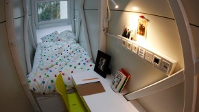 A view of the bedroom in one of the world's narrowest buildings in Warsaw