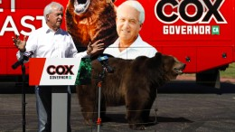 Kandidat bringt Bär zum Wahlkampf mit